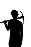 Schattenbild eines Bergarbeiters mit Sturzhelm Lizenzfreies Stockbild