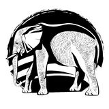 Schattenbild eines Elefanten mit der Hautbeschaffenheit Stockfotografie