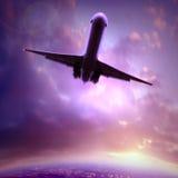 Schattenbild eines Flugzeuges stockfotos