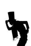 Schattenbild eines gutaussehenden Mannes mit der Hutbegrüßung stock abbildung