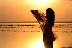 Schattenbild eines jungen Mädchens mit einem Schal Lizenzfreie Stockfotografie