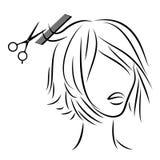 Schattenbild eines Kopfes einer s??en Dame Ein Mädchen in einem Schönheitssalon Die Frau tut ihr Haar, schneidet ihr Haar Auch im stock abbildung