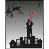 Schattenbild eines liebevollen Paares Lizenzfreie Stockbilder