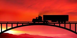 Schattenbild eines LKWs auf einer Brücke Stockfotos
