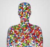 Schattenbild eines männlichen Menschen füllte mit Drogen oder Lizenzfreies Stockfoto