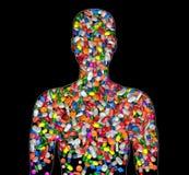 Schattenbild eines männlichen Menschen füllte mit Drogen oder Stockfoto