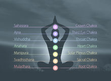 Schattenbild eines Mönchs, der in einem Lotussitz meditiert Lizenzfreies Stockbild
