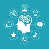 Schattenbild eines Mann ` s Kopfes mit Gängen in Form eines Gehirns umgeben durch Ikonen Lizenzfreies Stockfoto