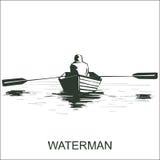 Schattenbild eines Mannes auf Boot Lizenzfreie Stockfotografie