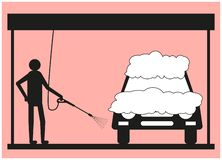 Schattenbild eines Mannes auf einem rosa Hintergrund, der das Fahrzeug unter Verwendung eines Hochdruckreinigers wäscht stock abbildung