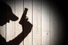 Schattenbild eines Mannes mit einer Pistole, XXXL-Bild Lizenzfreie Stockbilder