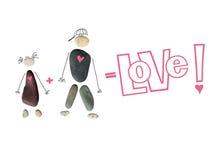 Schattenbild eines Mannes und der Frau, ein Paar von den Steinen Die Aufschrift ` Liebe! `, Zeichen plus und Gleichgestelltes Beg Stockbild