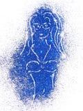 Schattenbild eines Mädchens im Badeanzug des blauen Funkelns auf weißem Hintergrund Stockbild