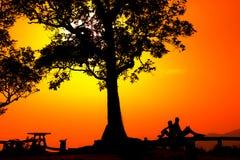 Schattenbild eines Paares in einem Sonnenuntergang gestalten landschaftlich Lizenzfreie Stockfotografie