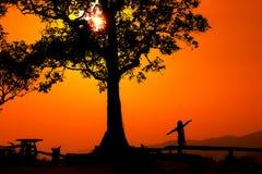Schattenbild eines Paares in einem Sonnenuntergang gestalten landschaftlich Lizenzfreie Stockfotos