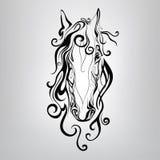 Schattenbild eines Pferdekopfs in den Mustern. Vektor illustratio Lizenzfreies Stockfoto