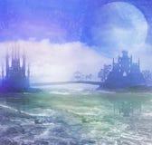 Schattenbild eines Pferdewagens und des Schlosses Lizenzfreies Stockfoto