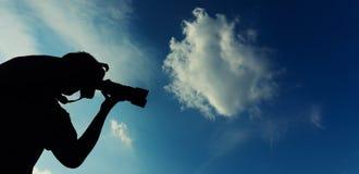 Schattenbild eines professionell Fotografen Stockfoto