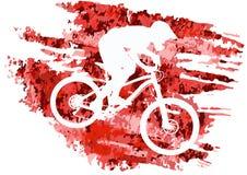 Schattenbild eines Radfahrers, der eine Mountainbike reitet Lizenzfreie Stockfotografie
