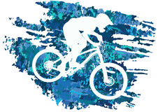 Schattenbild eines Radfahrers, der eine Mountainbike reitet Lizenzfreies Stockfoto