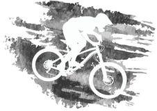 Schattenbild eines Radfahrers, der eine Mountainbike reitet Lizenzfreie Stockbilder