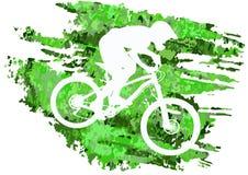 Schattenbild eines Radfahrers, der eine Mountainbike reitet Stockbilder