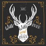 Schattenbild eines Rotwilds Übergeben Sie gezogenes Typografieplakat, Grußkarte, für wildes T-Shirt Design und geben Sie frei, Stockfotografie