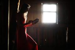 Schattenbild eines schönen Mädchens in einem roten Kleid Lizenzfreie Stockfotos