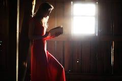 Schattenbild eines schönen Mädchens in einem roten Kleid Stockbilder