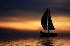 Schattenbild eines Segelboots Stockfoto