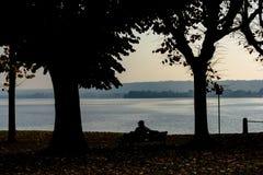 Schattenbild eines Sitzmannes zwischen zwei Bäumen auf einer Bank und des Betrachtens des Sees Italien, Arona Stockfotografie