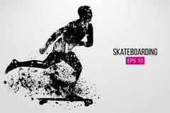 Schattenbild eines Skateboardfahrers Auch im corel abgehobenen Betrag Stockfotografie