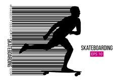 Schattenbild eines Skateboardfahrers Auch im corel abgehobenen Betrag Lizenzfreies Stockbild
