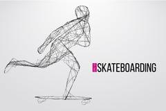 Schattenbild eines Skateboardfahrers Auch im corel abgehobenen Betrag Stockfoto