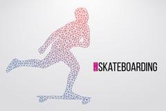 Schattenbild eines Skateboardfahrers Auch im corel abgehobenen Betrag Stockbild