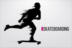 Schattenbild eines Skateboardfahrers Auch im corel abgehobenen Betrag Lizenzfreie Stockbilder
