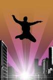 Schattenbild eines springenden Mannes Lizenzfreies Stockfoto