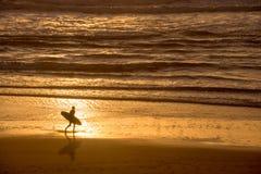 Schattenbild eines Surfers bei Sonnenuntergang auf dem Atlantik, Lacanau Frankreich Stockbild