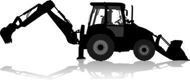 Schattenbild eines Traktors des Straßenservices im Profil Stockfoto
