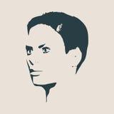 Schattenbild eines weiblichen Kopfes Gesichtsprofilansicht Stockbild