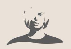 Schattenbild eines weiblichen Kopfes Vorderansicht des Gesichtes Stockfotografie