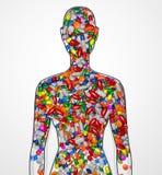 Schattenbild eines weiblichen Menschen füllte mit Drogen O Stockbilder