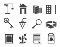 Schattenbild-einfache Real Estate-Ikonen Stockbilder