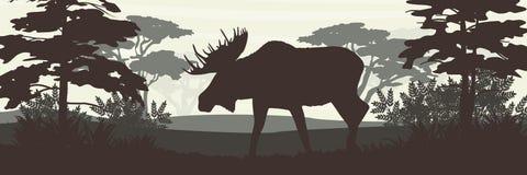 Schattenbild Elche mit großen Hörnern auf dem Hintergrund des Laubwaldes vektor abbildung