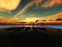 Schattenbild-Familie durch das Meer Lizenzfreie Stockbilder