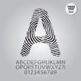 Schattenbild-Fingerabdruck-Alphabet und Stellen-Vektor Stockbild