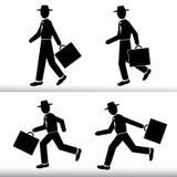 Schattenbild-gehender und laufender Geschäftsmann Männer, die in der Hand einen Hut mit einem Koffer - Vektorsatz tragen Stockbilder