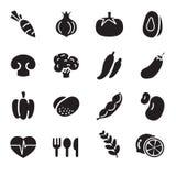 Schattenbild Gemüseikonen Lizenzfreies Stockfoto