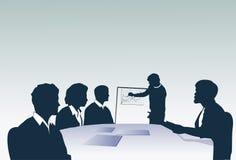Schattenbild-Geschäftsleute Team With Flip Chart Seminar-Trainings-Konferenz-Brainstorming-Darstellungs- lizenzfreie abbildung