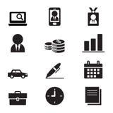 Schattenbild-Geschäftsmann und Bürowerkzeugikonensatz Stockbilder